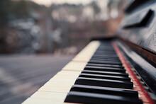 Close Up Of Vintage Piano Keys.