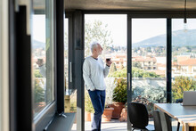Man With Wine Glass Looking Away While Standing By Sliding Door At  Home