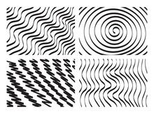 Hand Drawn Spiral, Wavy, Zig Zag Backgrounds. Hand Drawn Geometric Shapes