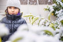 Girl Child In Warm Clothing During Snowfall