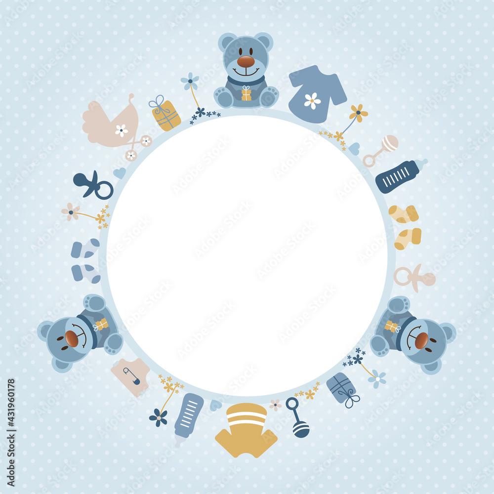 Obraz Retroblaue Teddys Babysymbole Junge Runder Rahmen Retroblau Senfgelb Punkte fototapeta, plakat