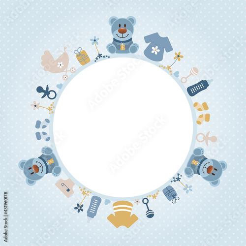 Fototapeta Retroblaue Teddys Babysymbole Junge Runder Rahmen Retroblau Senfgelb Punkte obraz