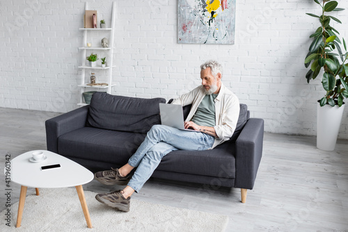 Obraz bearded man with grey hair sitting on couch and using laptop in living room. - fototapety do salonu