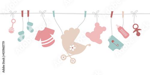 Banner Gerade Leine Babysymbole Mädchen Rosa Mintgrün