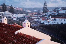 Red Tiled Roofs Of Azenhas Do Mar Town, Portugal.