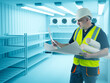 Leinwandbild Motiv Refrigerators compartment. Warehouse with shelves for food storage. Grocery warehouse with air conditioning. Stelms with shelves.  Industrial refrigerator. Engineer sets up refrigeration equipment.