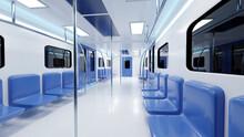 Three Dimensional Render Of Interior Of Modern Subway Train