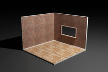 Three Dimensional Render Of Corner Of Empty Room With Brick Walls And Wooden Floor