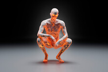 3D Illustration Of Crouching Character Made Out Of Concrete And Flowing Fire Energy