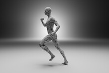 3D Illustration Of Sporty Runner Made Out Of Concrete
