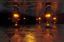 Three Dimensional Render Of Dark Environment Illuminated By Glowing Pillars