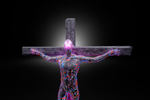3D Illustration Of Character Symbolizing Crucified Jesus Made Of Energy And Concrete