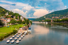 Rental Boats On The Neckar With The Old Town And The Castle Of Heidelberg In The Background, Heidelberg, Germany