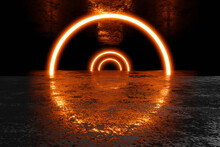 Three Dimensional Render Of Dark Environment Illuminated By Red Glowing Arches