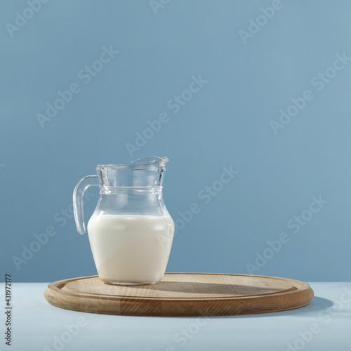 Obraz Fresh cold milk and free space for your decoration  - fototapety do salonu