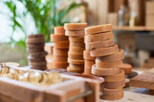 Organic Soaps Piled Up On Table At Workshop