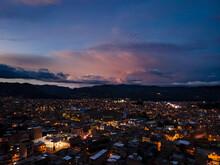 Drone Atardecer Ciudad Cajamarca Fotografía Noche