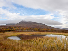 Marsh Grass In Pond Against Mountain Covered In Cloud At Jamtland, Sweden
