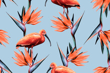 Bright Seamless Pattern With Exotic Flower And Bird.