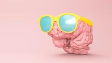 Three Dimensional Render Of Human Brain Wearing Sunglasses
