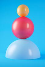 Three Dimensional Render Of Two Geometric Spheres Stacked On Top Of Hemisphere