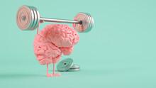 Three Dimensional Render Of Human Brain Lifting Weights