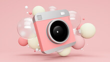 Three Dimensional Render Of Old-fashioned Camera Floating With Various Bubbles Against Pink Background