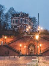 Germany, Hamburg, Kohlbrandtreppe Staircase In Altona Illuinated At Dawn