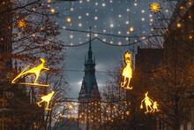 Germany, Hamburg, Christmas Decorations In Monckebergstrasse