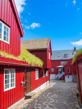 Alley Amidst Red Houses Against Blue Sky, Torshavn, Faroe Islands, Iceland