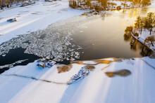 Germany, Berlin, Shipwreck In Ice Of Frozen Spree River In Friedrichshain Kreuzberg