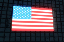 Illuminated American Flag On Black Flag