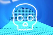 Illuminated Skull Against Neon Blue Lights