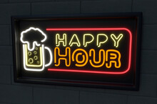 Illuminated Beer Glass With Happy Hour Text On Black Wall