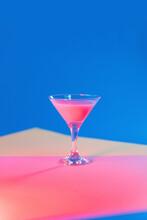 Studio Shot Of Martini Glass With Pink Liquid