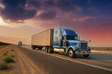 Freight Truck Driving On Highway Desert Road At Sunset. California, USA