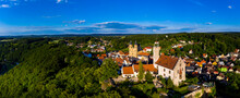 Germany, Bavaria, Gossweinstein, Aerial View Of Urban Landscape With Castle And Church