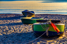 Boats Moored On Beach At Usedom, Mecklenburg-vorpommern, Germany