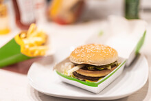 Close Up Of Fast Food Burger And French Fries