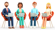 3D Illustration Of Business Team Office Working. Happy Multicultural People Characters Sitting In Chairs And Using Laptops. Successful Teamwork, Group Connection And Global Communication.