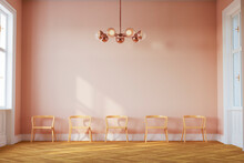 Three Dimensional Render Of Row Of Empty Chairs In Pink Colored Waiting Room