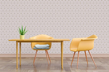 Three Dimensional Render Of Two Chairs Standing By Simple Table With Wall Covered In Geometric Cube Wallpaper