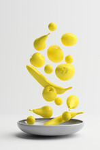 Three Dimensional Render Of Yellow Fruits Falling On Plate