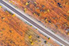 Australia, South Australia, Aerial View Of Stuart Highway In Lake Hart Area
