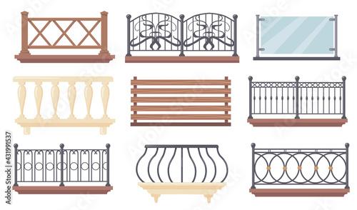 Fotografía Vintage and modern balcony railings vector illustrations set