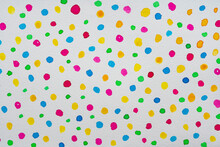 Colorful Watercolor Abstract Dots Pattern On White Paper Background