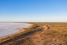 Australia, South Australia, Aerial View Of Salt Lake In Lake Hart Area