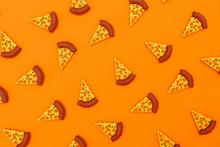 Three Dimensional Render Of Pizza Slices On Orange Background