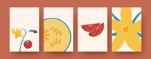 Set Of Floral, Fruit And Vegetable Vector Illustrations. Vector Illustration. Collection Of Contemporary Natural Elements In Pastel Colors. Nature, Vegetable, Flower Concept For Social Media Design