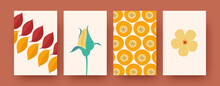 Set Of Contemporary Art Postcards With Leaves, Flowers, Fruits. Vector Illustration. Colorful Collection Of Natural Elements. Nature, Fruit, Flower Concept For Social Media, Postcards, Invitations